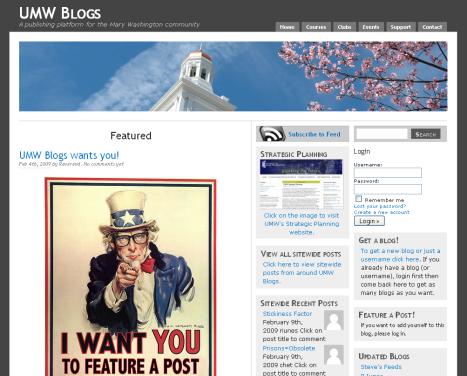 screenshot of University of Mary Washington blog site